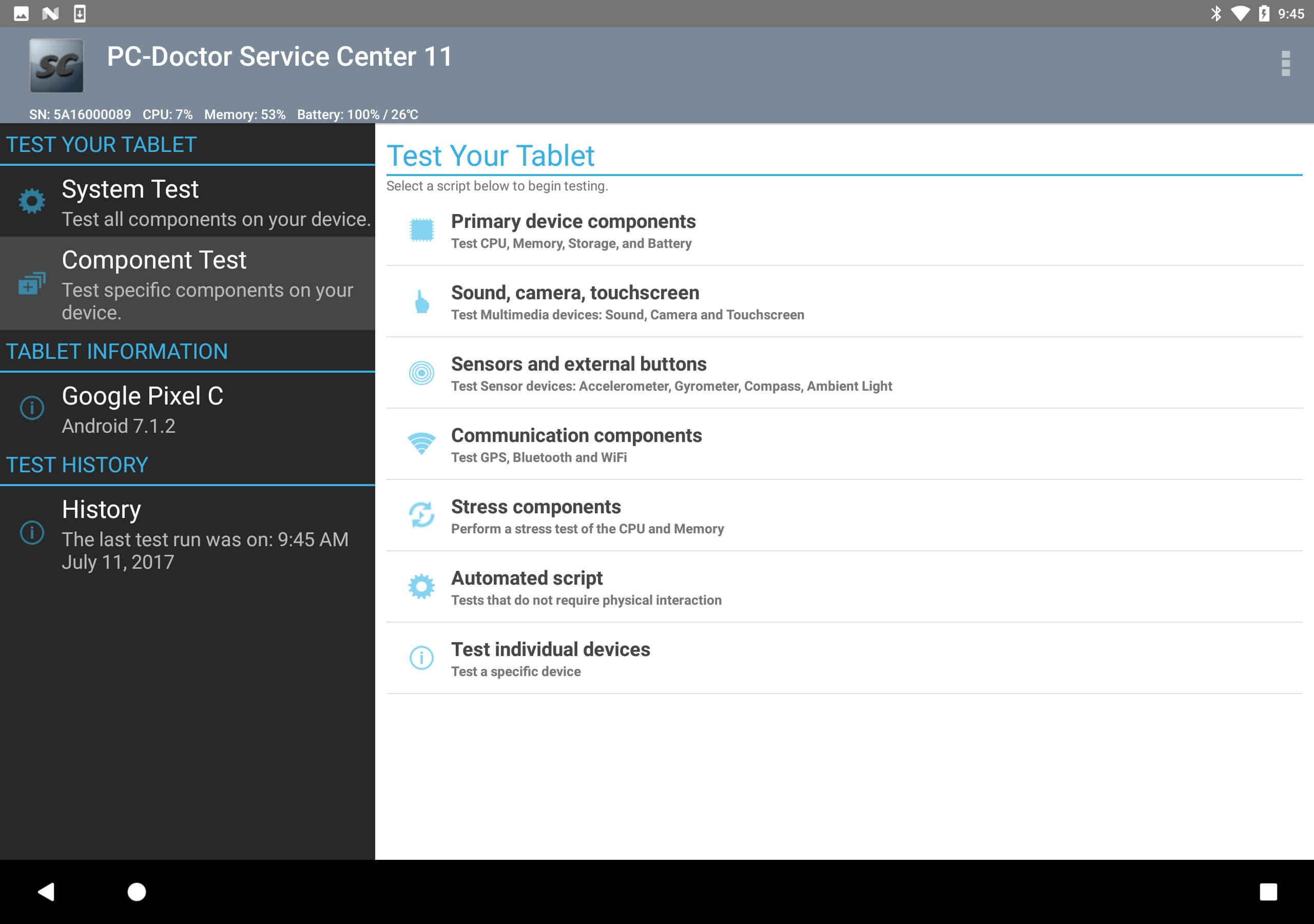 Service Center Android Tablet Home