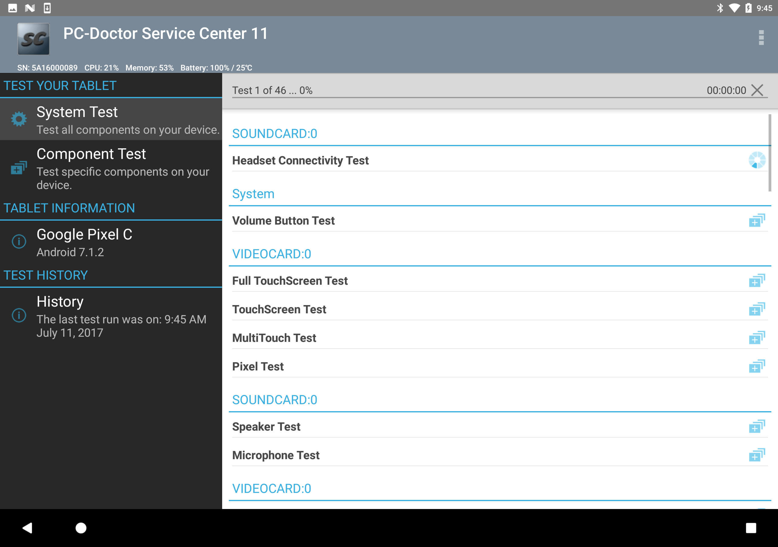 Service Center Android Tablet Testing