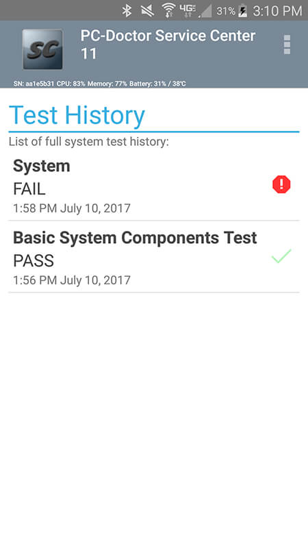Service Center Android Test History