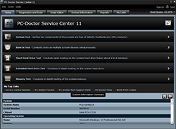 PC-Doctor Service Center Home Screen